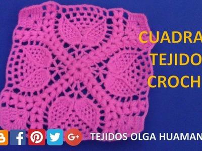 Cuadrado tejido a crochet para cobijas o mantitas para bebe