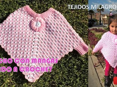 Poncho con Mangas tejido a crochet paso a paso