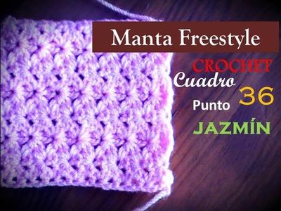 PUNTO JAZMIN a CROCHET - cuadro 36 de la manta FREESTYLE (diestro)