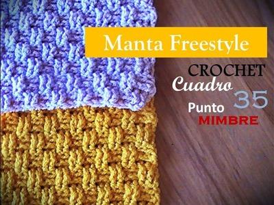 PUNTO MIMBRE a crochet - cuadro 35 manta FREESTYLE (zurdo)