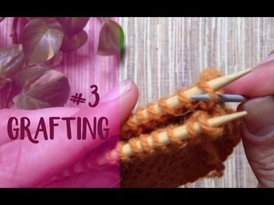 """Unir tejidos: costura """"vertical"""" #3 (grafting) (para todos los puntos a dos agujas)"""