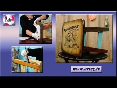 Banco de madera pintado con tonalizadores y transferencia de imagen