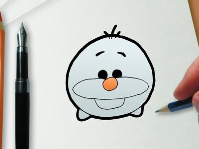 Cómo dibujar Olaf en la versión Disney Tsum Tsum
