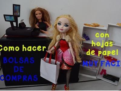 COMO HACER BOLSAS DE COMPRAS PARA MUÑECAS. CON HOJAS MUY FACIL
