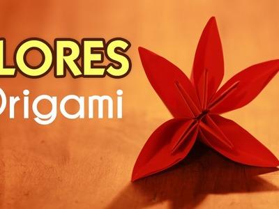Como hacer Flores de Papel  FLOR DE 5 PETALOS Flores origami