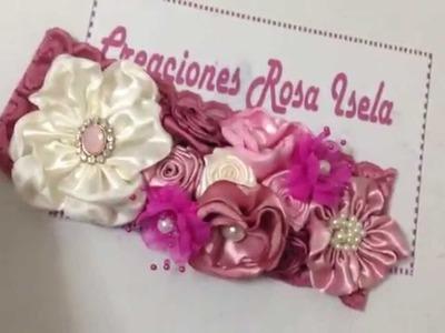 Tiara de flores de tela satinada ( 2 ) producto terminado No. 185