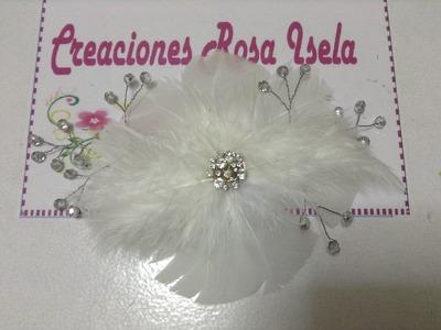 Tocado para novia hecho con plumas y piedras VIDEO No. 103