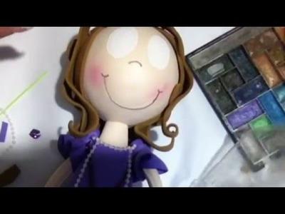 Fofucha princesa Sofia parte 2 (cabeza, cabello y pintura de cara)