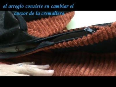 Funda de sillón con la cremallera rota, CAMBIAR CURSOR