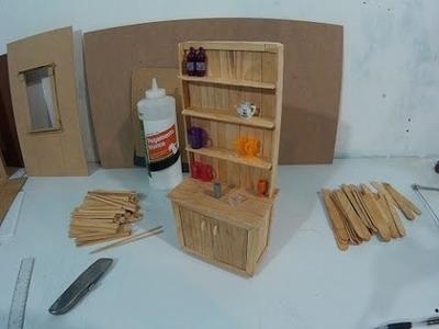 Mueble de cocina para muñecas hecho con palitos (parte 1)