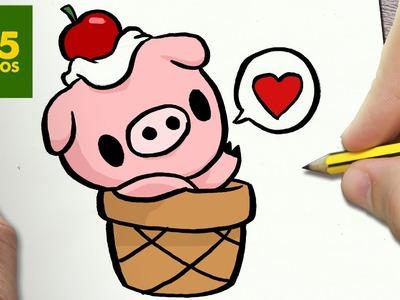 COMO DIBUJAR CERDITO KAWAII PASO A PASO - Dibujos kawaii faciles - How to draw a PIG