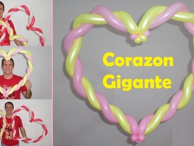 Como hacer un corazon con globos - globoflexia facil - decoración de corazones