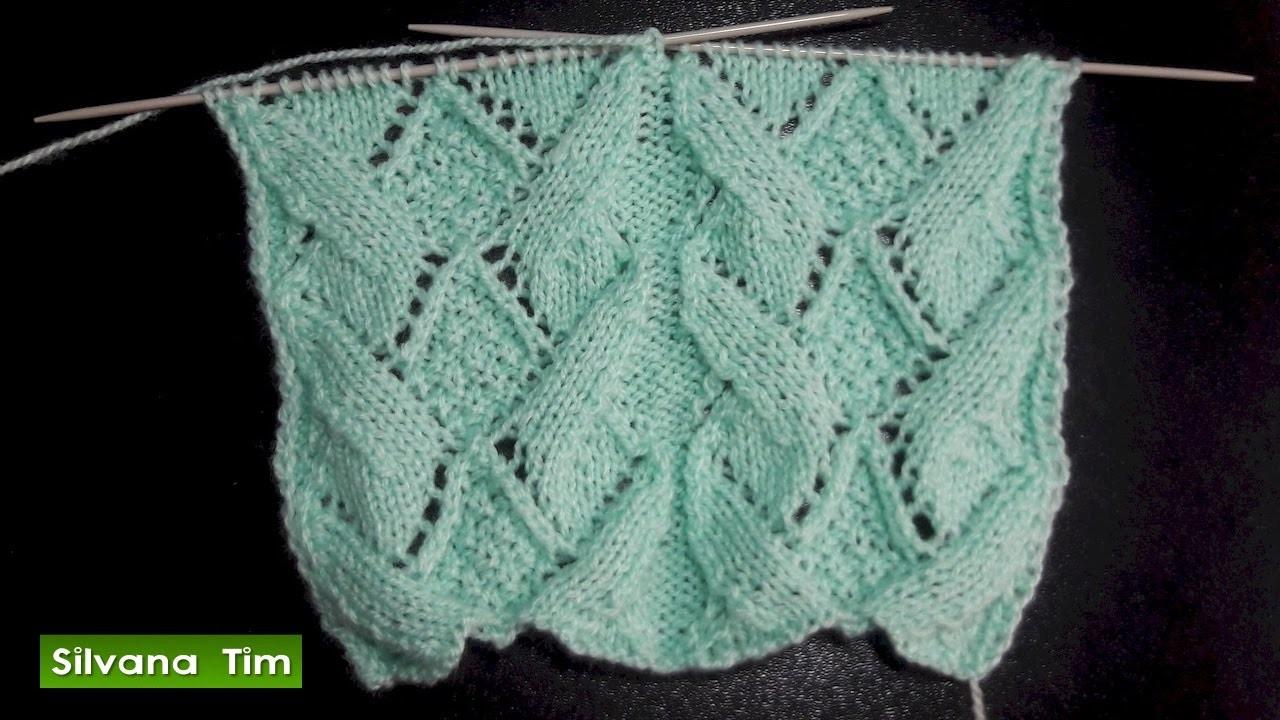 Cómo tejer Punto calado ROMBOS. Tejido con dos agujas # 505