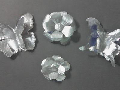 Flores y mariposas hechas de lata de bebida #reciclando #CreandoconALBA