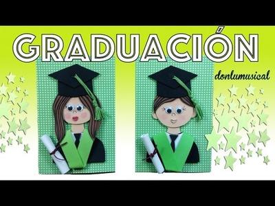 Graduación niño y niña de goma eva fomi con birrete y diploma