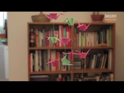 Móvil de origami | Cómo hacer una grulla | @iMujerHogar