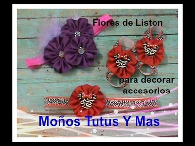 FLORES EN LISTON Paso a Paso EASY TO MAKE FLOWERS Tutorial DIY How To PAP