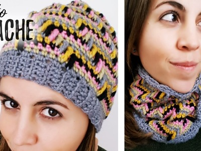 GORRO. CUELLO en PUNTO APACHE a crochet | Ahuyama Crochet