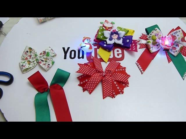 Lazos para el cabello decorado con aplicaciones navideñas de luces