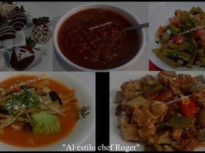 MENU COMPLETO 5, Sopa de tortilla, alambre, nopales, salsa y fresas.