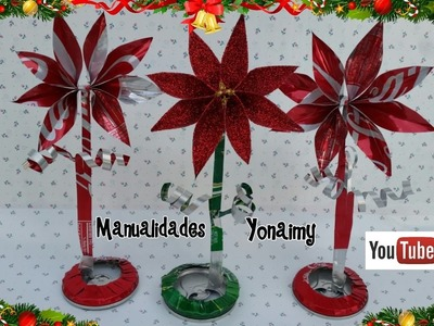 NOCHEBUENAS HECHAS CON LATAS DE ALUMINIO RECICLADAS .- POINSETTIAS WITH RECYCLED CANS .