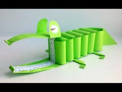 Cocodrilo de papel - Como hacer manualidades de papel Cocodrilo facil