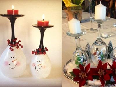 Centro de mesa con copas |DIY Decoración Navidad. DECORACIÓN NAVIDEÑA CON COPAS