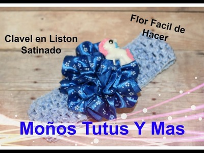 CLAVEL EN LISTON SATINADO Paso a Paso SATIN CARNATION Tutorial DIY How To PAP