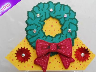 Como hacer servilleteros Navideños - Fiesta Navideña - Corona Navidad - Tutorial Inerya viris