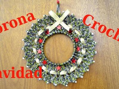 Como hacer una Corona en tejido crochet para Navidad tutorial paso a paso.