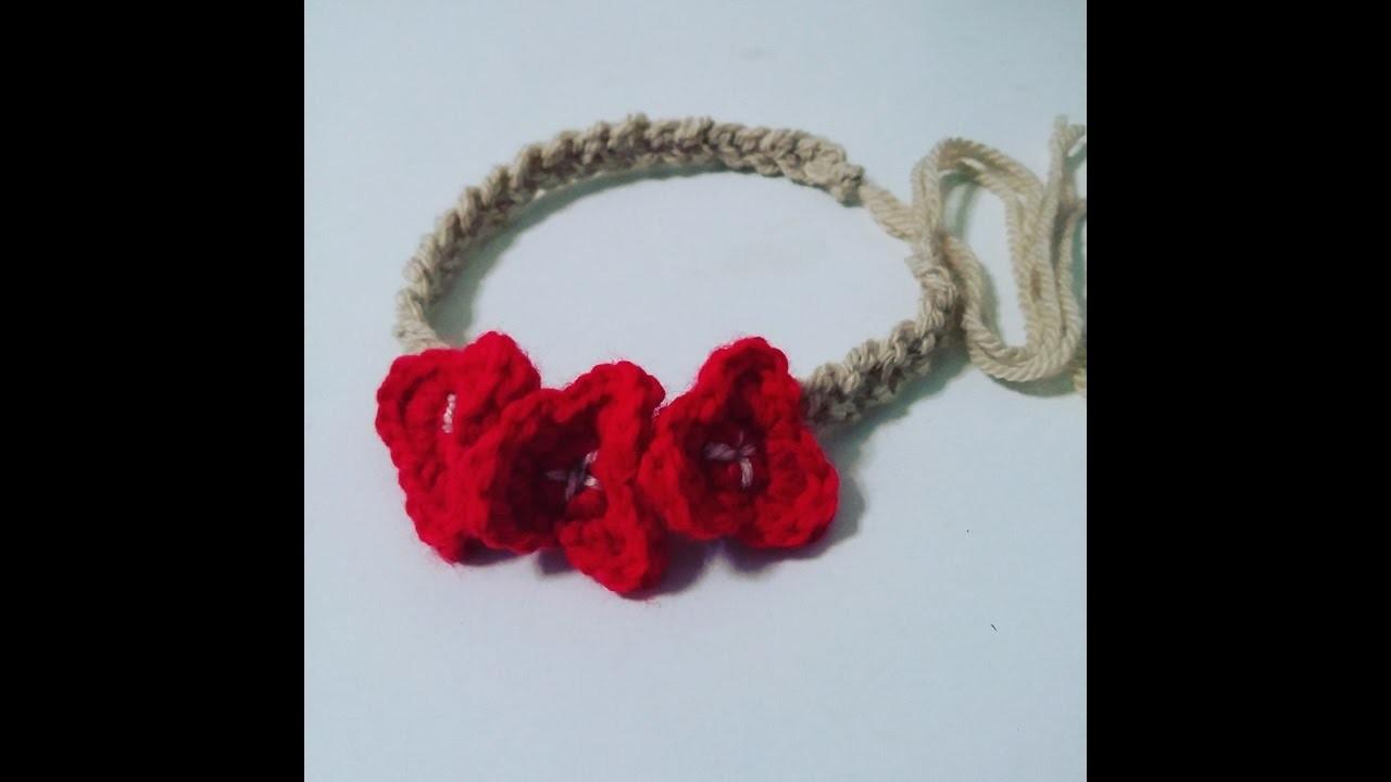 Diadema fácil de flores en crochet.