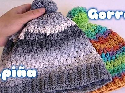 GORRO BASICO DE PUNTO PIÑA A GANCHILLO.crochet hat puff stitch