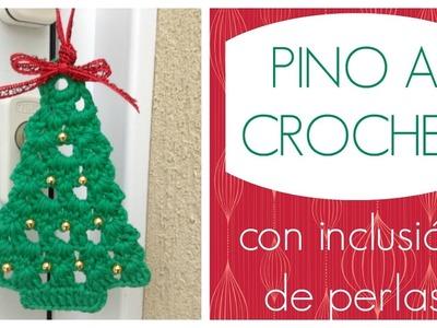 Pino de navidad a crochet con inclusión de perlas