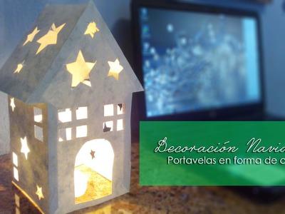 Porta velas navideño en forma de casa | Decoración navideña