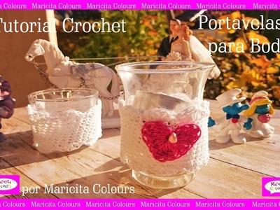 "Portavelas para bodas a Crochet ""Romance"" por Maricita Colours"