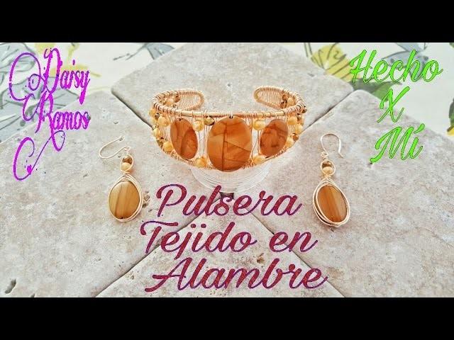 Pulsera Tejido en Alambrismo  Chapa de Oro DIY