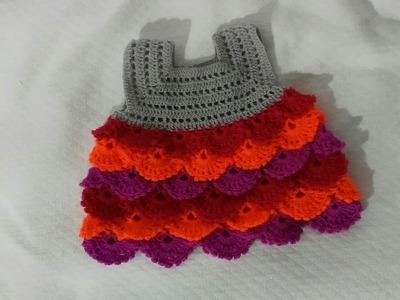 Vestido Bebe a crochet o ganchillo de 0 a 3 meses. Reborn Style