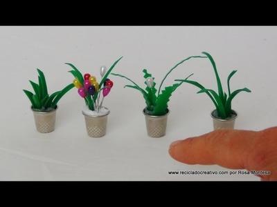 Cómo hacer maceteros con dedales y hojas de plantas con botellas de plástico