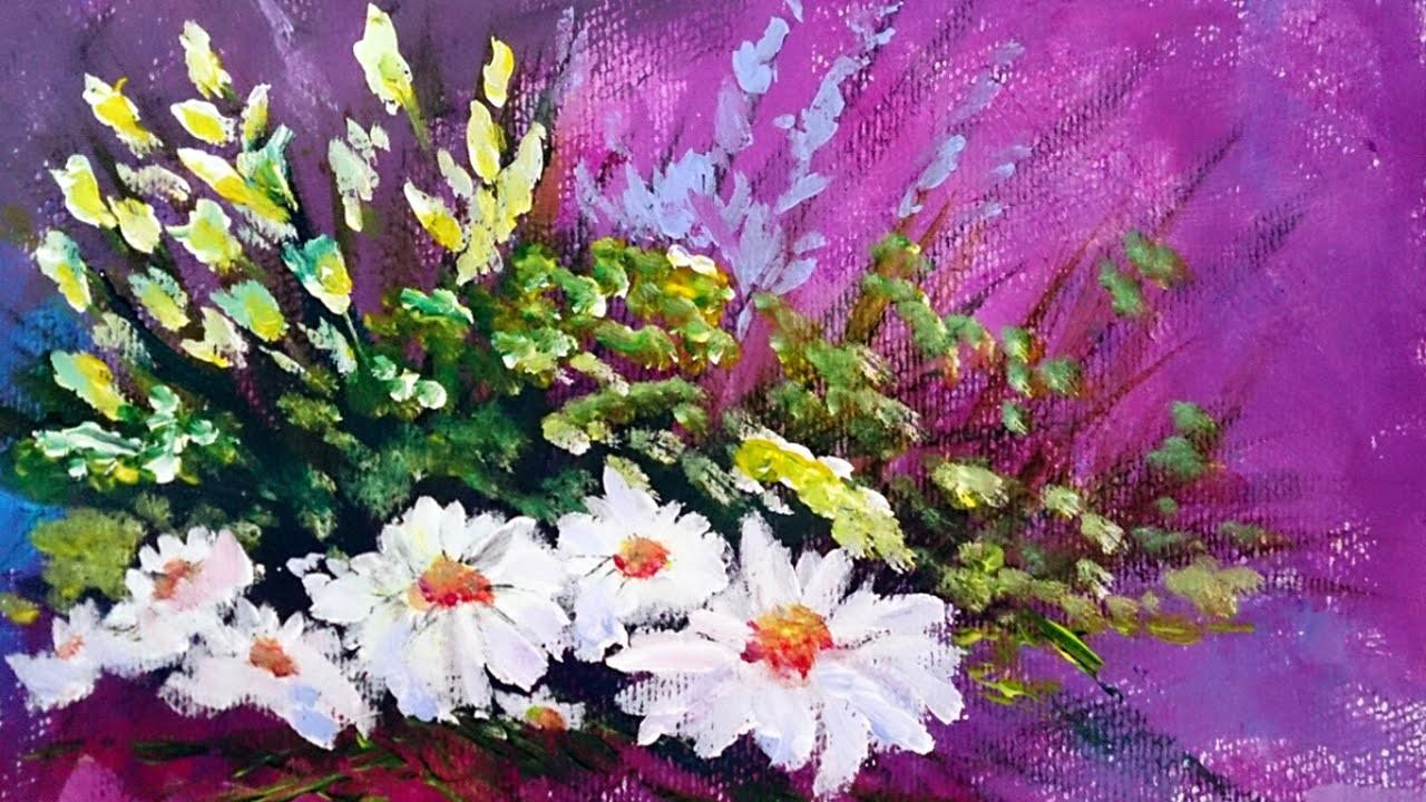 Como pintar flores con acrilico paso a paso como pintar - Pintar con acrilicos paso a paso ...