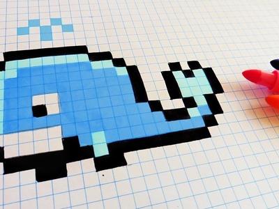 Handmade Pixel Art - How To Draw a Whale #pixelart