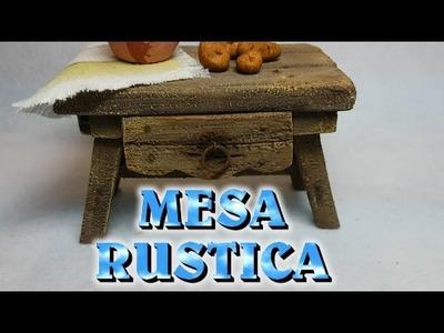 MESA RUSTICA de MADERA  para cocina del NACIMIENTO