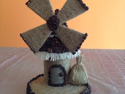 Molino de  granos de café y cabuya estilo Vintage Mill of coffee beans and rope  vintage style
