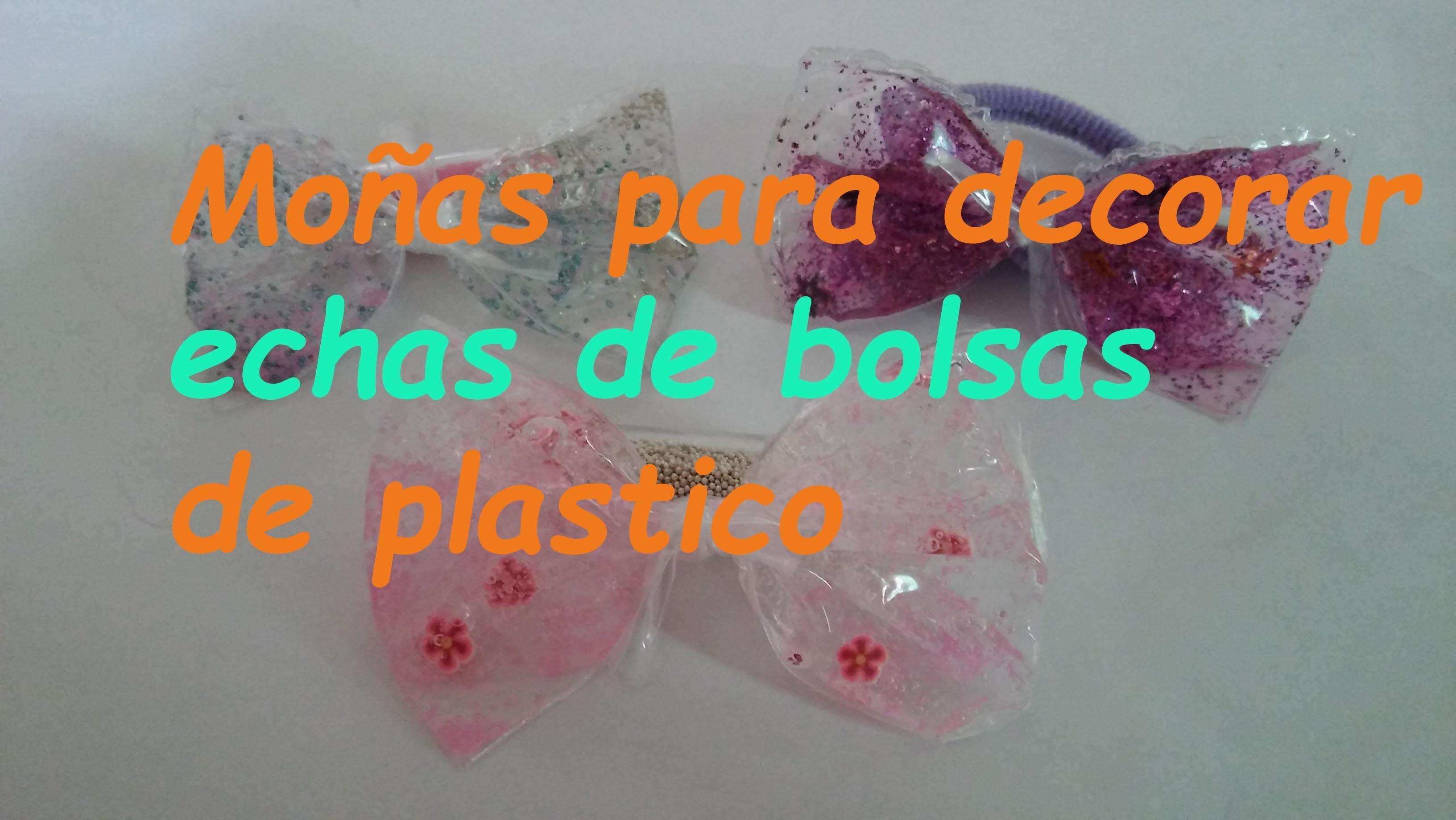 Moñas para decorar hechas de bolsas de plastico