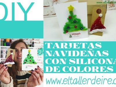 Tarjetas y etiquetas navideñas decoradas con silicona de colores