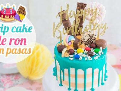 Tarta de cumpleaños de Ron con pasas | Drip Cake | Quiero Cupcakes!