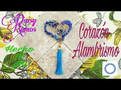 Corazón en Alambrismo, DIY, Azul contra la Diabetes
