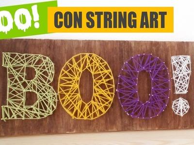 DIY CUADRO PARA HALLOWEEN CON STRING ART I Aprende a hacer string art fácil ♥ Qué cositas