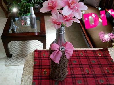 DIY decoración de botellas con tela.decoración del hogar