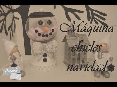 Manualidades para navidad DIY - Muñeco de nieve bote chuches imitando máquina de chicles