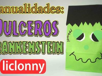 Tutorial de Manualidades. Dulceros de Frankenstein para Halloween. liclonny